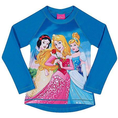 Camiseta Proteção UV 50 FPS  - Princesas da Disney - Azul - Tiptop