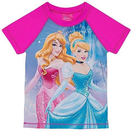 Camiseta Proteção UV 50 FPS  - Princesas Disney - Rosa - Tiptop