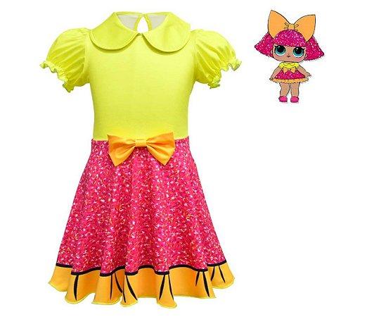 Vestido Infantil LOL - Glitter Queen - Amarelo e Rosa