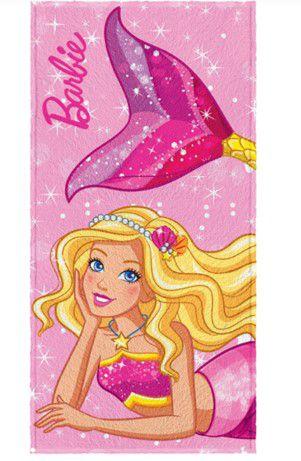 Toalha Felpuda da Barbie - Sereia Rosa