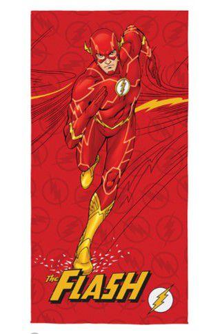 Toalha Aveludada Estampada Flash - Liga da Justiça