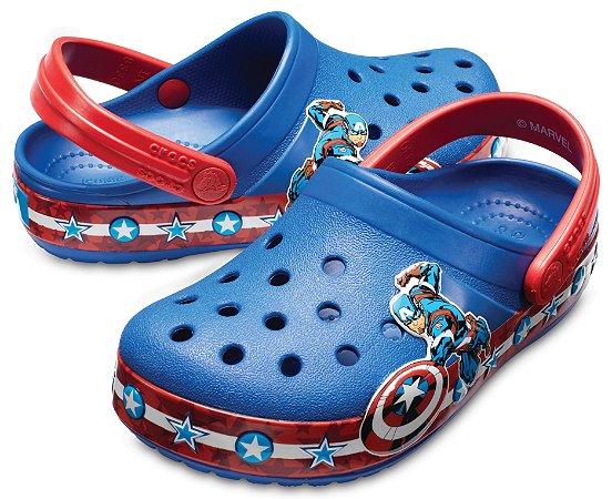3a76345c7 Crocs do Capitão América - Azul Jeans - Estilo Crocband Fashion ...