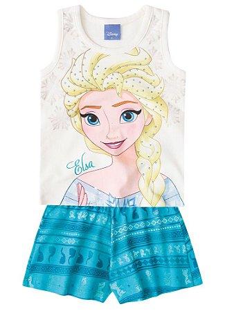 Conjunto de Blusa e Shorts - Disney Frozen - Verde Água