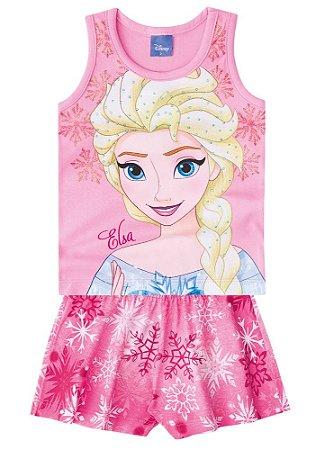 Conjunto de Blusa e Shorts - Disney Frozen - Rosa