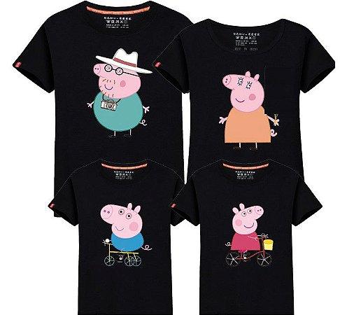 Camiseta Peppa -Mãe e Filho - Preta