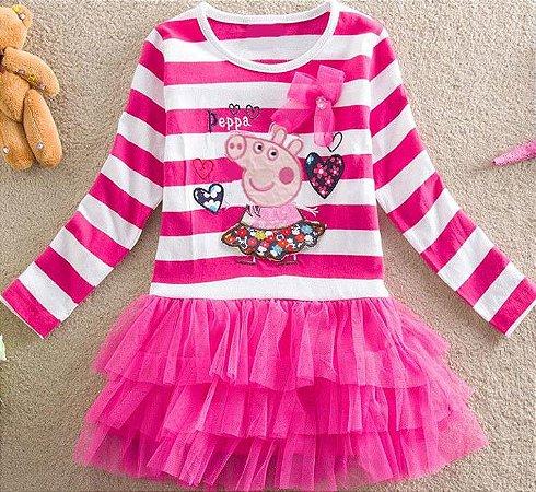 Vestido da Peppa Pig - Listrado Rosa