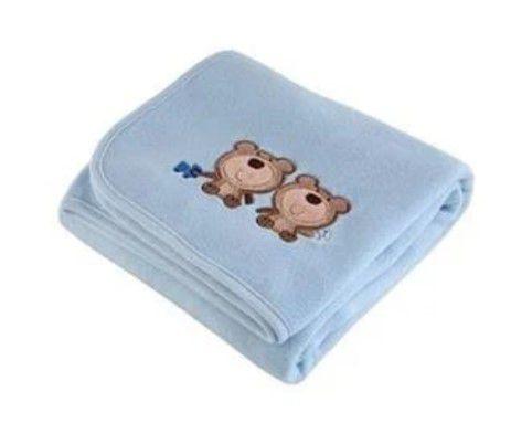 Manta Fleece Bordada - Baby - Ursinhos - Azul - Lepper