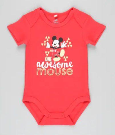 Body do Mickey - Disney - Vermelho - Algodão Sustentável