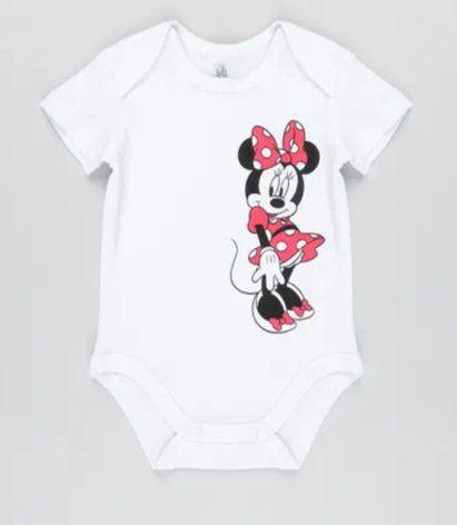 Body da Minnie- Disney - Branco - Algodão Sustentável