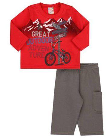 Conjunto Blusa e Calça Moletom - Bicicleta - Vermelho e Cinza - Bebê - Brandili