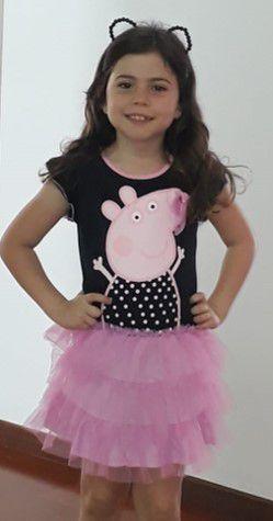 Vestido Preto da Peppa Pig - Manga Curta com Tule