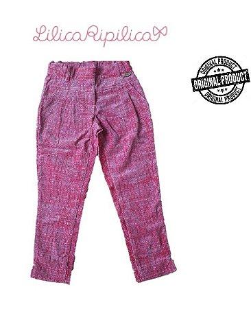Calça de Veludo Rosa com Cinto - Lilica Ripilica