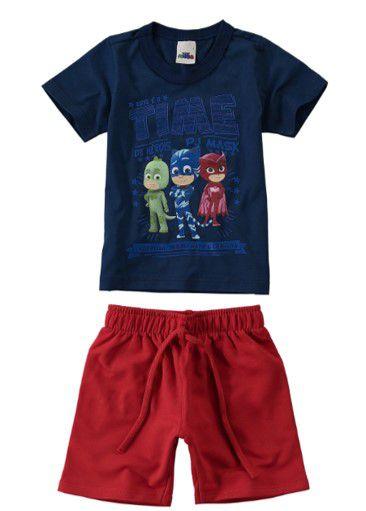 Conjunto de Camiseta Azul Marinho e Bermuda - Pj Masks