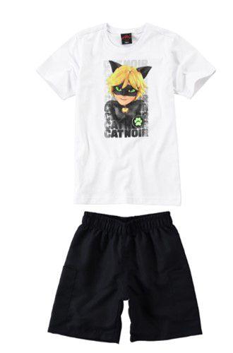 Conjunto de Camiseta e Bermuda - Cat Noir - Miraculous - Branco e Preto - Malwee