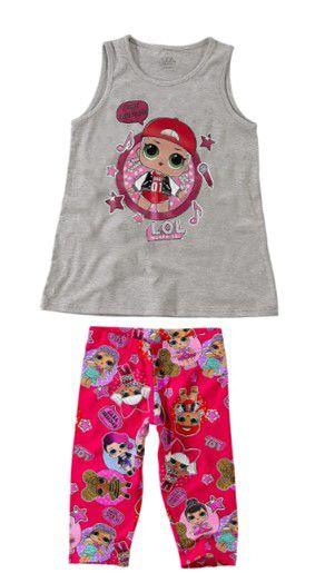 Conjunto de Blusa + Calça Corsário - LOL Suprise - Cinza e Rosa - Malwee