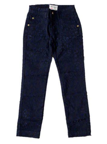 Calça de Sarja com Veludo - Lilica Ripilica - Preta com Azul Marinho