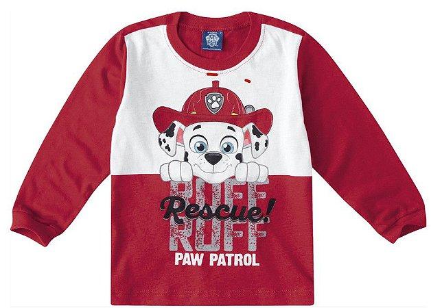 Camiseta da Patrulha Canina - Marshall - Vermelha e Branca - Malwee