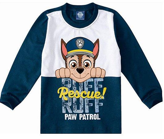 Camiseta da Patrulha Canina - Chase -Azul e Branco - Malwee