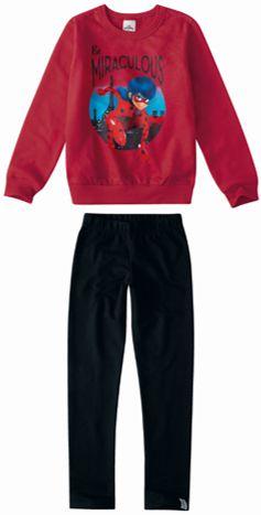 Conjunto de Blusa e Legging - Ladybug - Miraculous - Vermelho e Preto - Malwee