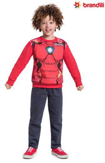 Conjunto de Moletom - Blusa Músculos e Calça - Homem de Ferro - Vermelho e Cinza Chumbo - Brandili