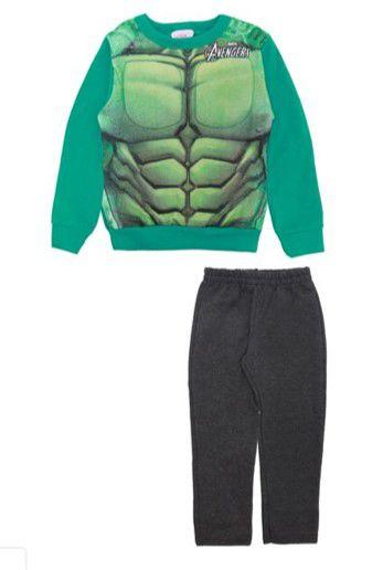 Conjunto de Moletom - Blusa Músculos e Calça - Hulk - Verde e Cinza - Brandili