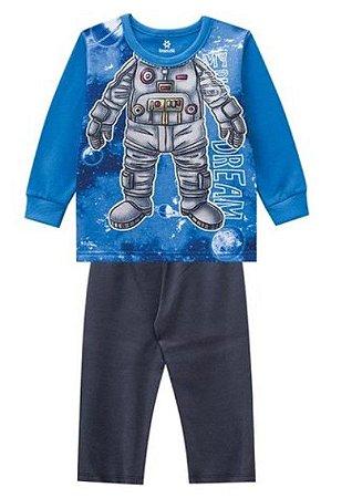 Pijama Infantil Moletinho Robô Brilha no Escuro - Azul - Brandili