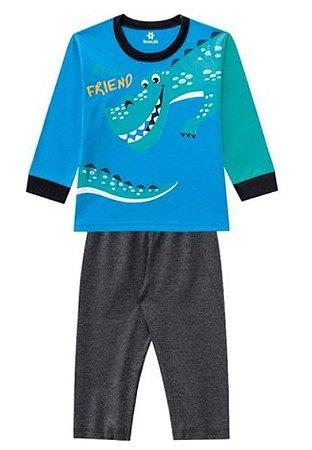 Pijama Bebê Dinossauro - Azul - Brandili