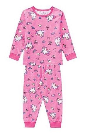 Pijama Infantil Unicórnio - Rosa - Brandili