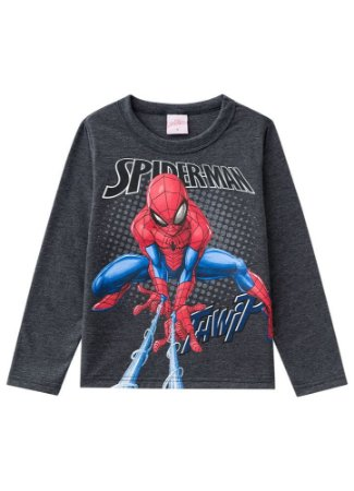 Camiseta do Homem Aranha - Cinza Chumbo - Brilha no Escuro - Brandili