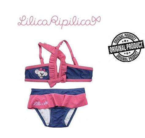 Biquini Bebê da Lilica Ripilica - Azul Jeans e Rosa