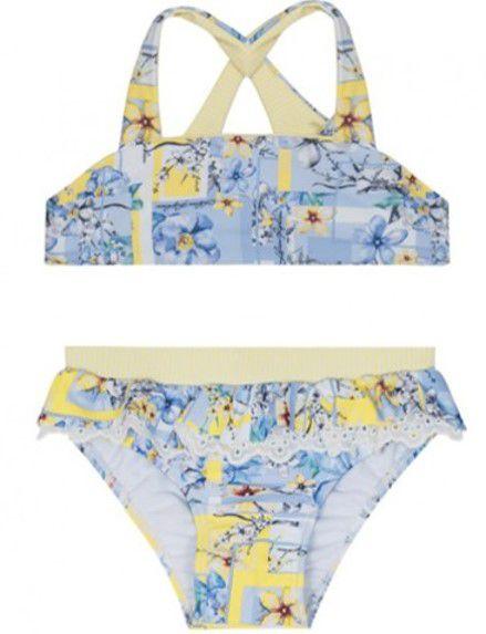 Biquini Bebê Menina Floral com Broderi -Azul -  Lilica Ripilica Baby