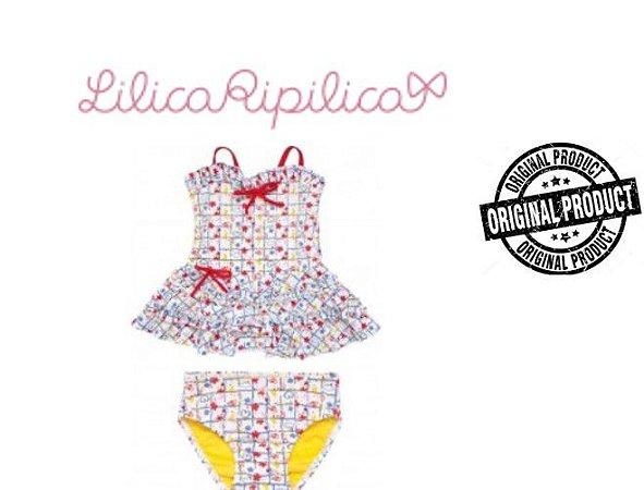 Biquini Regata e Calcinha - Lilica Ripilica Baby - Branco e Vermelho