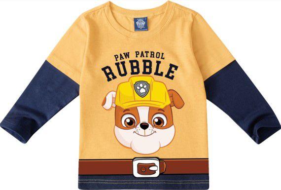 Camiseta Patrulha Canina Rubble  - Amarela e Azul Marinho - Malwee