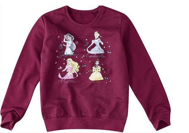 Moletom Felpado Princesas da Disney - Bordô - Malwee
