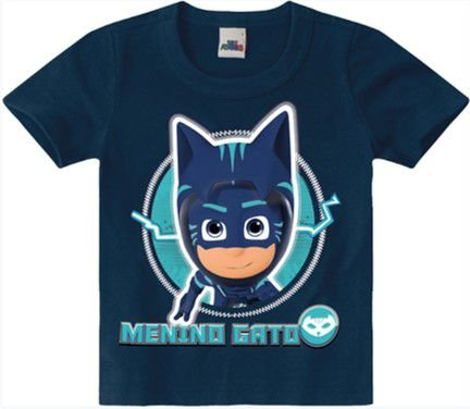 Camiseta PJ Masks Menino Gato - Azul Marinho - Malwee