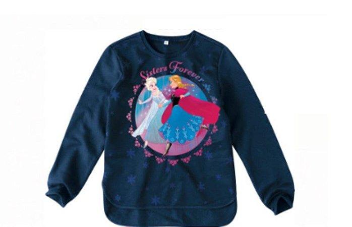 Moletom Felpado - Anna e Elsa - Disney Frozen - Azul Marinho