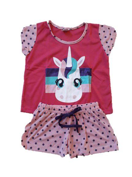 Pijama Short Doll - Unicórnio