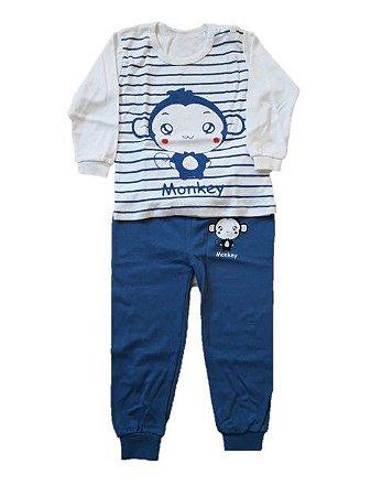 Pijama Bebê Macaquinho - Listrado Azul e Branco