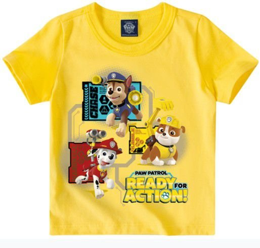 Camiseta da Patrulha Canina - Chase, Marshall e Rubble - Amarela - Malwee