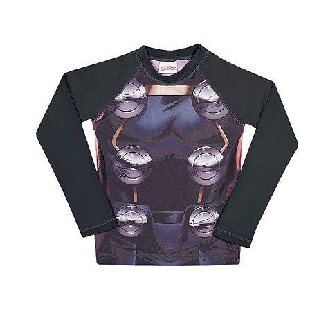 Camiseta Proteção UV 50 FPS  - Thor - Avengers - Cinza Grafite - Tiptop