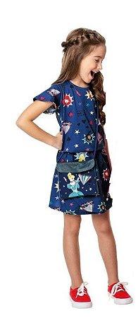 Vestido Princesas de Disney Com Bolsa - Cinderela - Azul Marinho - Malwee