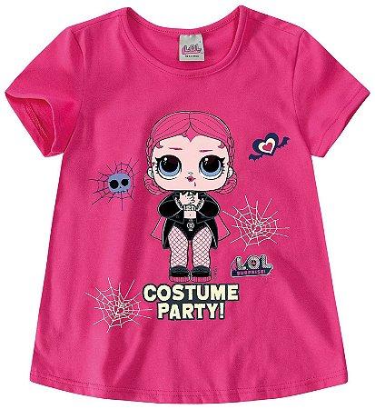 Blusa Infantil LOL Halloween Brilha no Escuro Rosa - Malwee