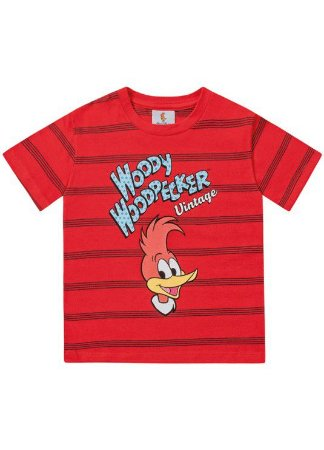 Camiseta Pica-Pau - Vermelha - Infantil - Fakini