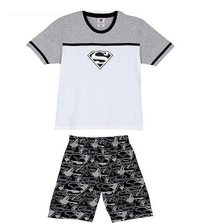 Pijama Infantil Superman - Cinza e Branco - Lupo