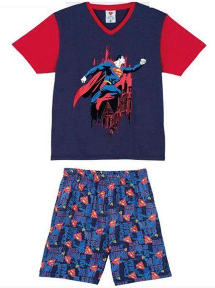 Pijama Infantil Superman Azul Marinho e Vermelho - Lupo