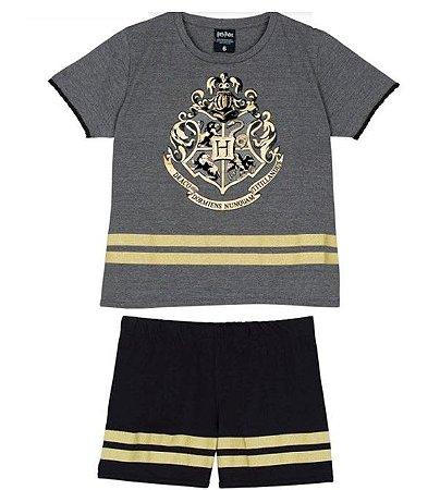 Pijama Short Doll Harry Potter Disney - Preto e Dourado - Lupo