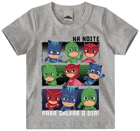 Camiseta Infantil PJ Masks - Cinza - Malwee