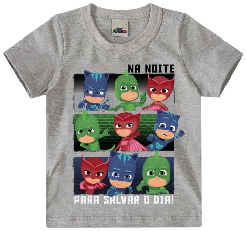 Camiseta PJ Masks - Cinza Mescla