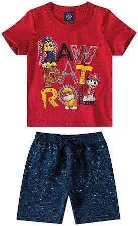 Conjunto Camiseta e Bermuda - Patrulha Canina - Vermelho e Azul - Malwee