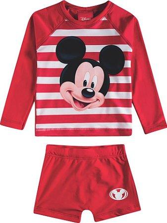 Sunga Mickey + Camiseta Proteção UV 50 FPS - Conjunto Proteção Vermelho